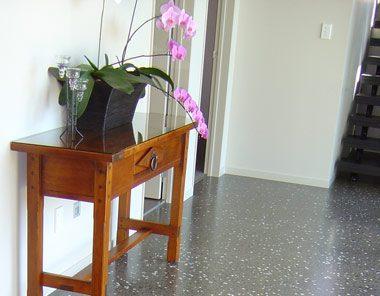 polished concrete floor in hallway