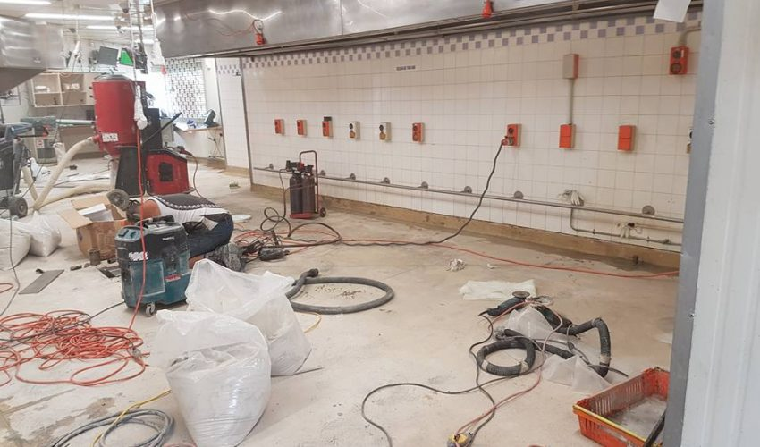 KFC Mangere Terrazzite Floor Preparation in progress